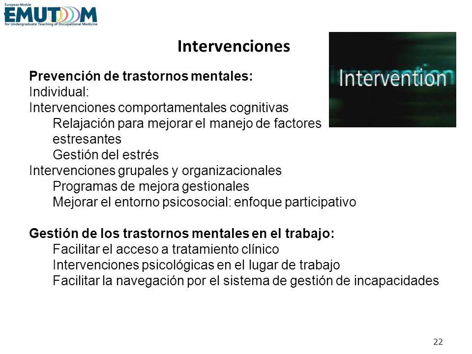 22 Prevención de trastornos mentales: Individual: Intervenciones comportamentales cognitivas Relajación para mejorar el manejo de factores estresantes