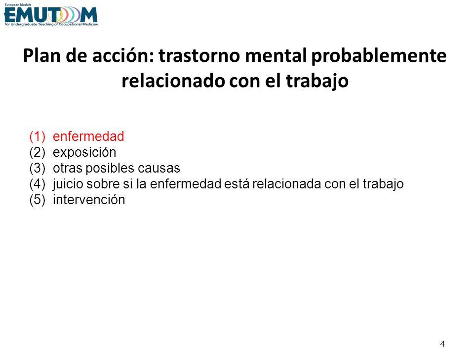 Trastornos mentales relacionados con el trabajo más comunes Trastornos de estrés postraumático Trastornos relacionados con el estrés Trastornos depresivos