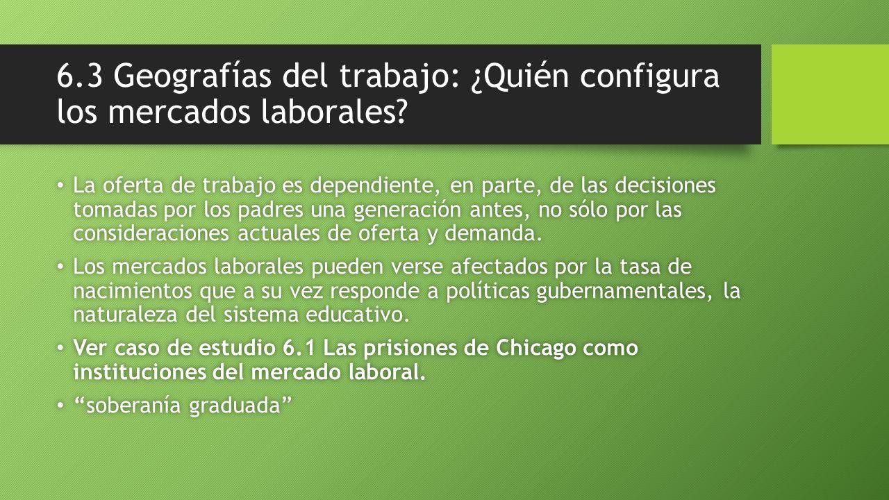 6.3 Geografías del trabajo: ¿Quién configura los mercados laborales? La oferta de trabajo es dependiente, en parte, de las decisiones tomadas por los