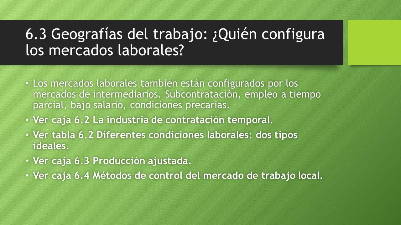 6.3 Geografías del trabajo: ¿Quién configura los mercados laborales? Los mercados laborales también están configurados por los mercados de intermediar