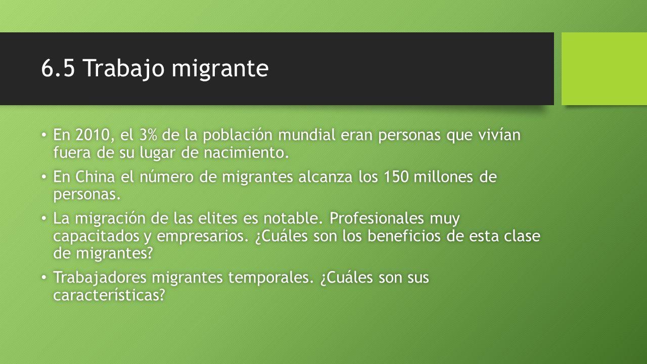 6.5 Trabajo migrante En 2010, el 3% de la población mundial eran personas que vivían fuera de su lugar de nacimiento. En 2010, el 3% de la población m