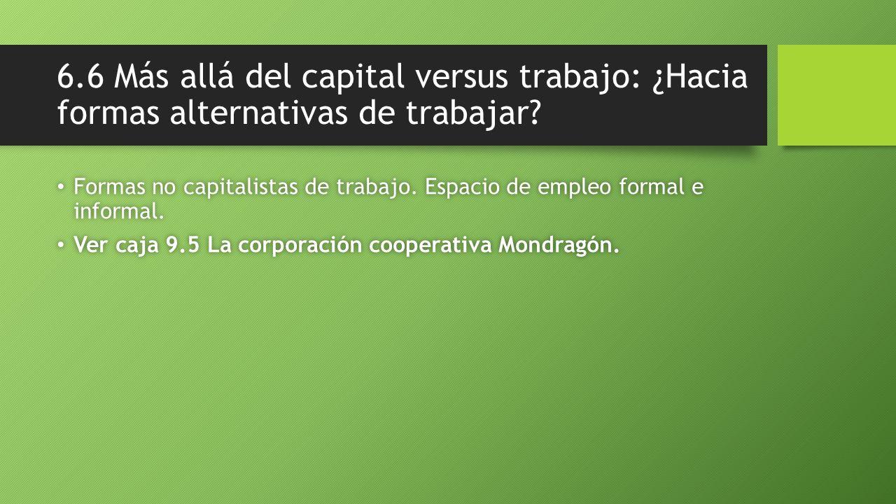 6.6 Más allá del capital versus trabajo: ¿Hacia formas alternativas de trabajar? Formas no capitalistas de trabajo. Espacio de empleo formal e informa