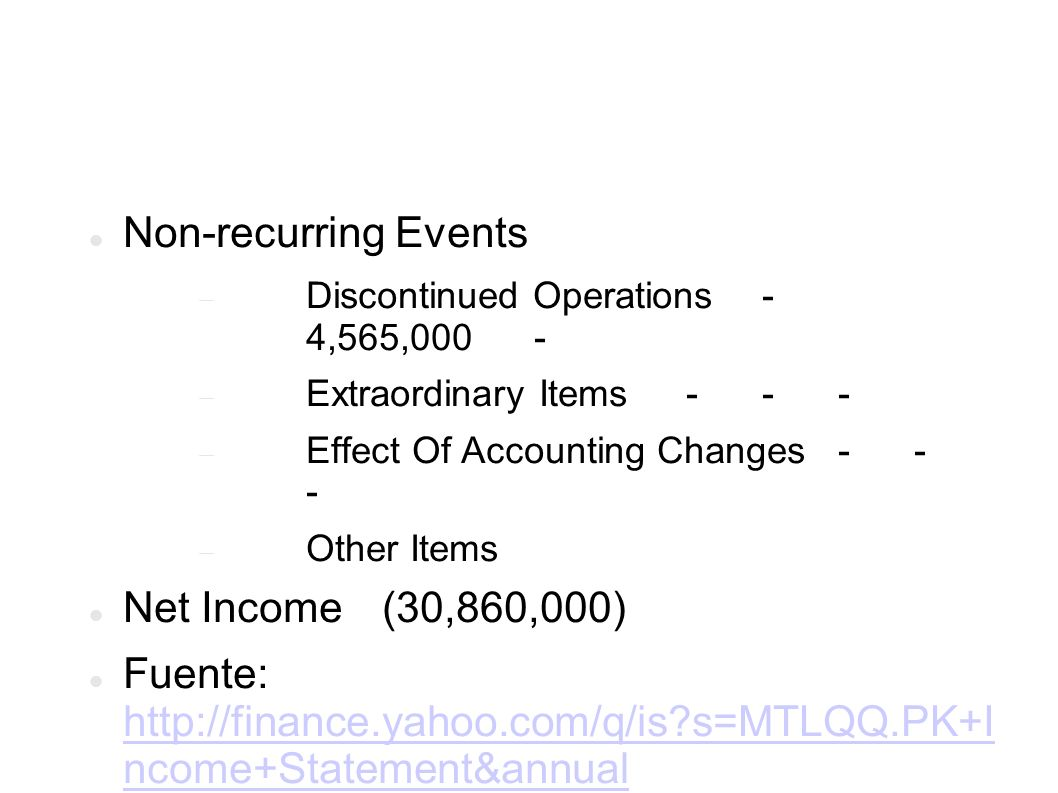 Non-recurring Events Discontinued Operations- 4,565,000 - Extraordinary Items- - - Effect Of Accounting Changes- - - Other Items Net Income (30,860,000) Fuente: http://finance.yahoo.com/q/is s=MTLQQ.PK+I ncome+Statement&annual http://finance.yahoo.com/q/is s=MTLQQ.PK+I ncome+Statement&annual