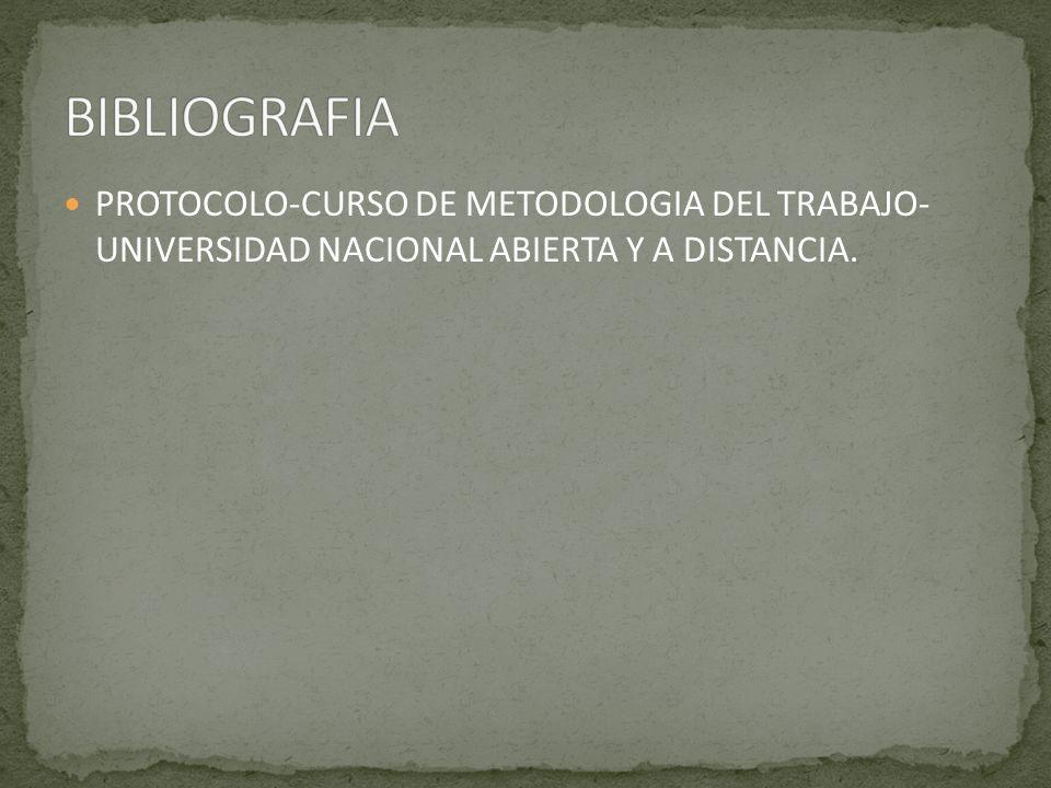 PROTOCOLO-CURSO DE METODOLOGIA DEL TRABAJO- UNIVERSIDAD NACIONAL ABIERTA Y A DISTANCIA.