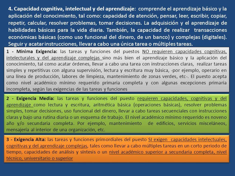 4. Capacidad cognitiva, intelectual y del aprendizaje: comprende el aprendizaje básico y la aplicación del conocimiento, tal como: capacidad de atenci