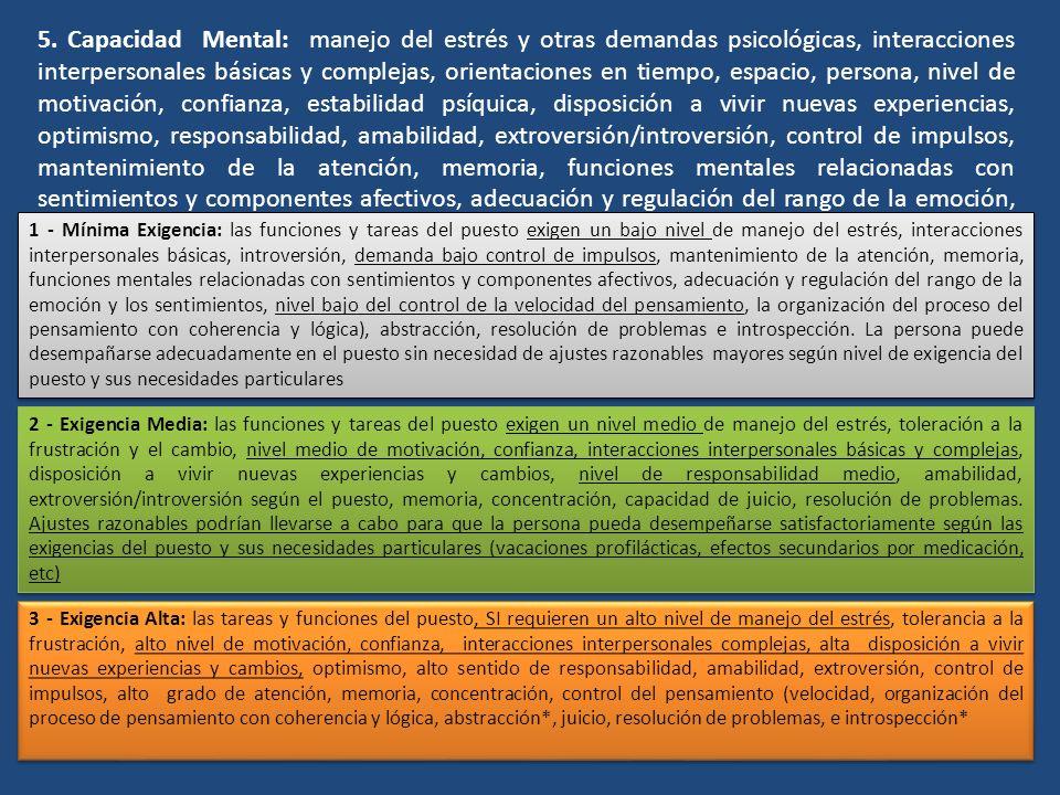 5. Capacidad Mental: manejo del estrés y otras demandas psicológicas, interacciones interpersonales básicas y complejas, orientaciones en tiempo, espa
