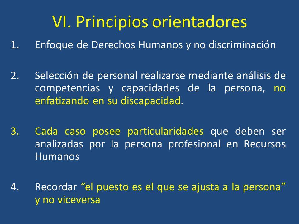 VI. Principios orientadores 1.Enfoque de Derechos Humanos y no discriminación 2.Selección de personal realizarse mediante análisis de competencias y c