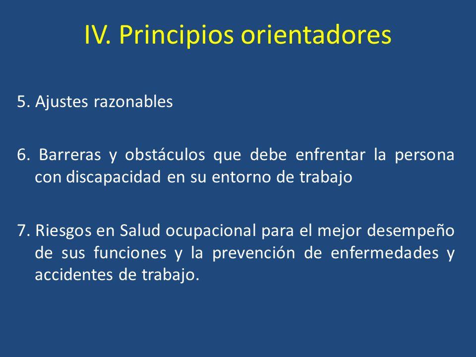 IV. Principios orientadores 5. Ajustes razonables 6. Barreras y obstáculos que debe enfrentar la persona con discapacidad en su entorno de trabajo 7.