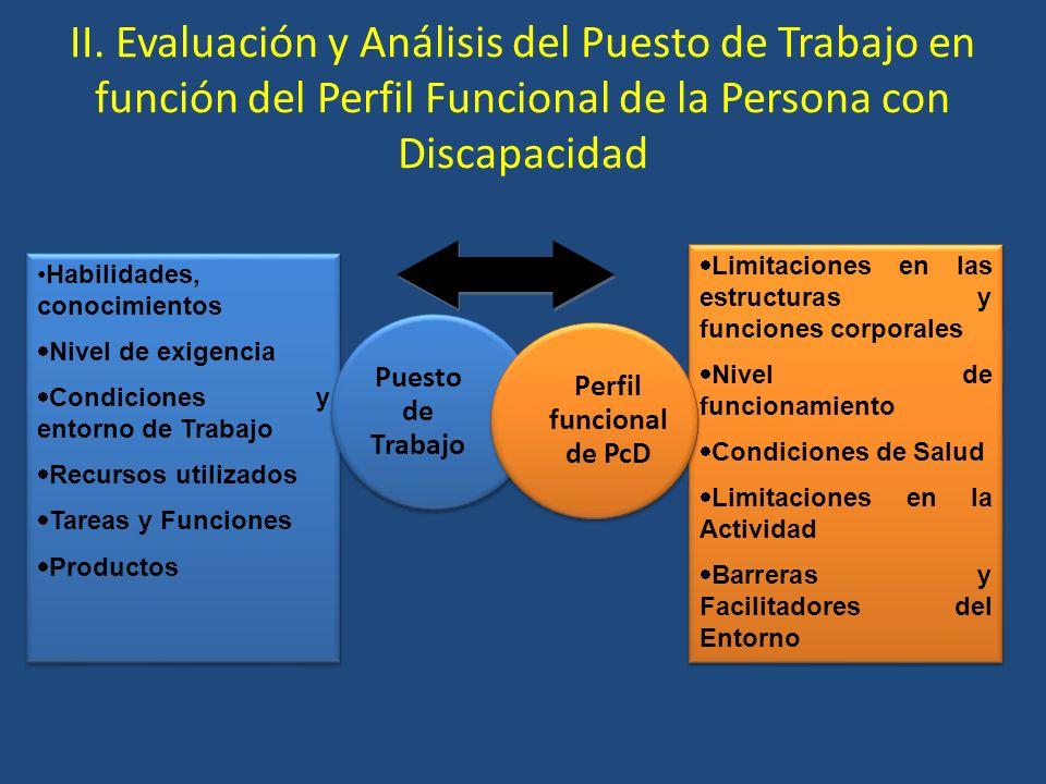 II. Evaluación y Análisis del Puesto de Trabajo en función del Perfil Funcional de la Persona con Discapacidad Habilidades, conocimientos Nivel de exi