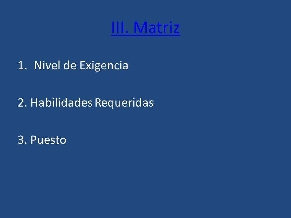 III. Matriz 1.Nivel de Exigencia 2. Habilidades Requeridas 3. Puesto