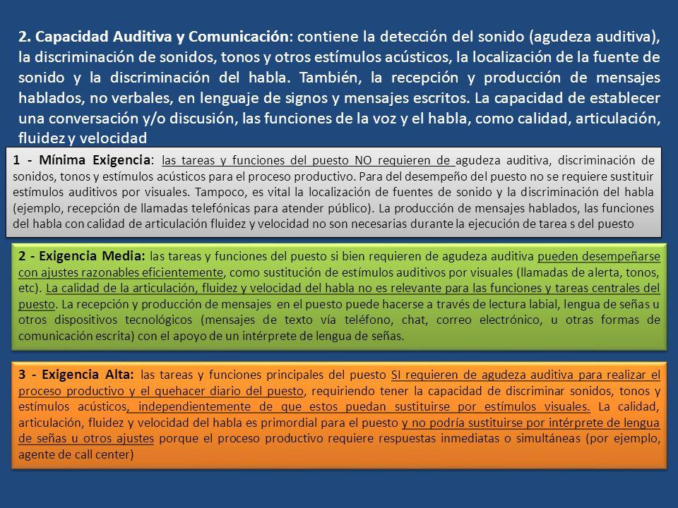 2. Capacidad Auditiva y Comunicación: contiene la detección del sonido (agudeza auditiva), la discriminación de sonidos, tonos y otros estímulos acúst