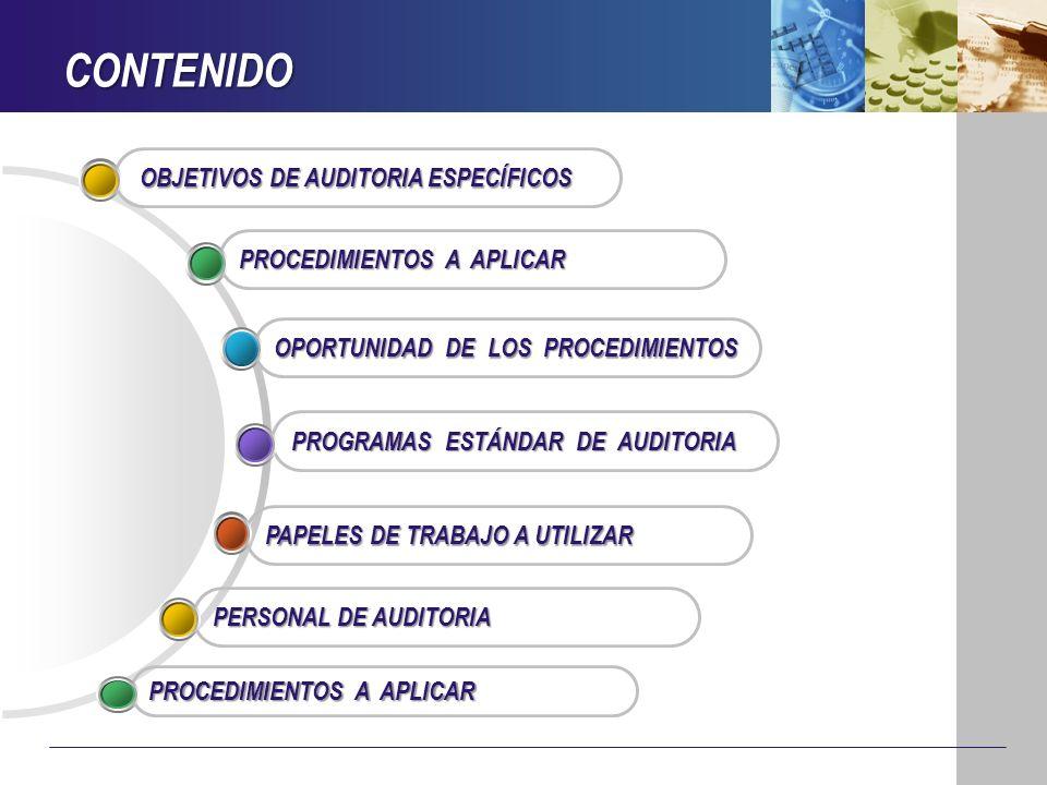 CONTENIDO PAPELES DE TRABAJO A UTILIZAR PROGRAMAS ESTÁNDAR DE AUDITORIA OPORTUNIDAD DE LOS PROCEDIMIENTOS PROCEDIMIENTOS A APLICAR OBJETIVOS DE AUDITO