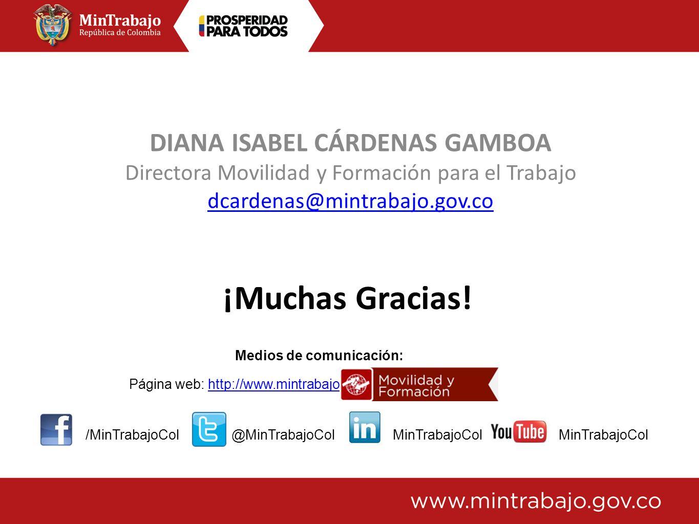 DIANA ISABEL CÁRDENAS GAMBOA Directora Movilidad y Formación para el Trabajo dcardenas@mintrabajo.gov.co Medios de comunicación: Página web: http://ww