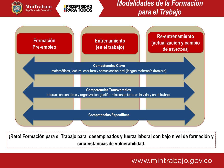 Entrenamiento (en el trabajo) Entrenamiento (en el trabajo) Re-entrenamiento (actualización y cambio de trayectoria) Re-entrenamiento (actualización y
