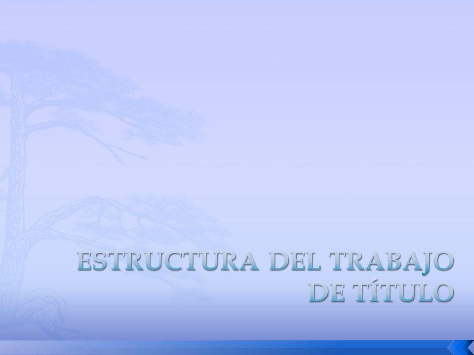 PORTADA PORTADA DEDICATORIA DEDICATORIA RESUMEN RESUMEN ÍNDICES ÍNDICES SIGLA Y SIMBOLOGÍA SIGLA Y SIMBOLOGÍA INTRODUCCIÓN INTRODUCCIÓN DESARROLLO DE CAPÍTULOS DESARROLLO DE CAPÍTULOS CONCLUSIONES Y RECOMENDACIONES CONCLUSIONES Y RECOMENDACIONES BIBLIOGRAFÍA BIBLIOGRAFÍA ANEXOS ANEXOS La Estructura del Trabajo Escrito, deberá contemplar como mínimo, los siguientes aspectos: