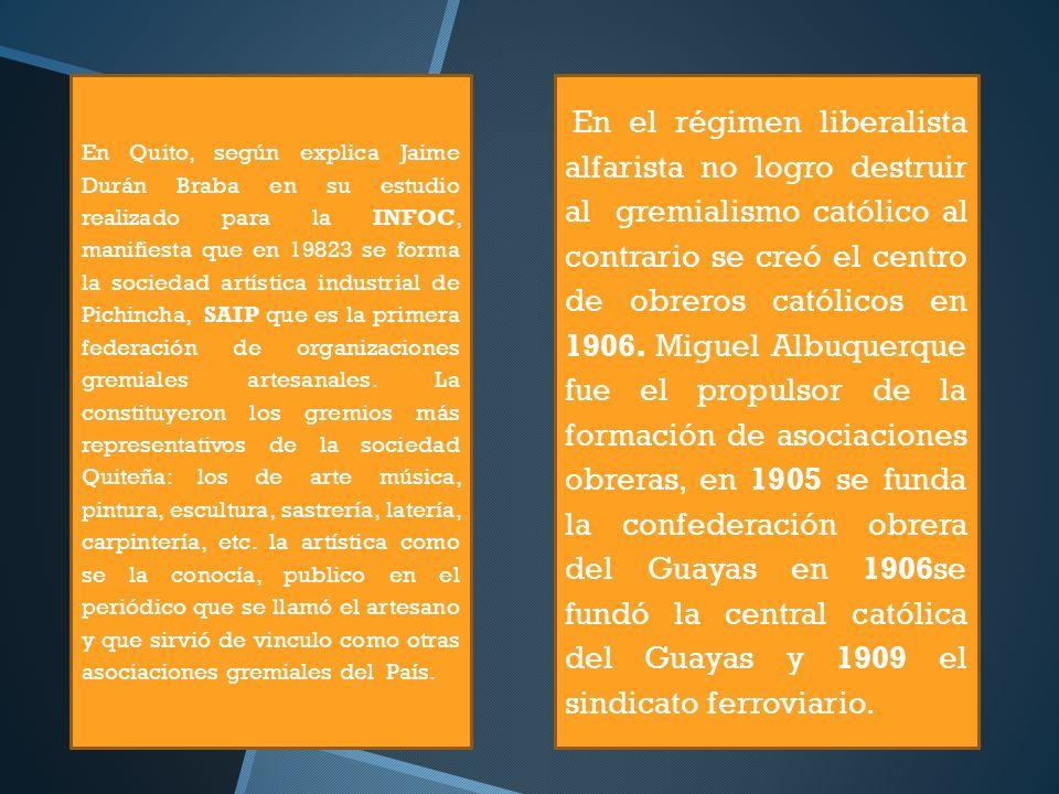 En Quito, según explica Jaime Durán Braba en su estudio realizado para la INFOC, manifiesta que en 19823 se forma la sociedad artística industrial de
