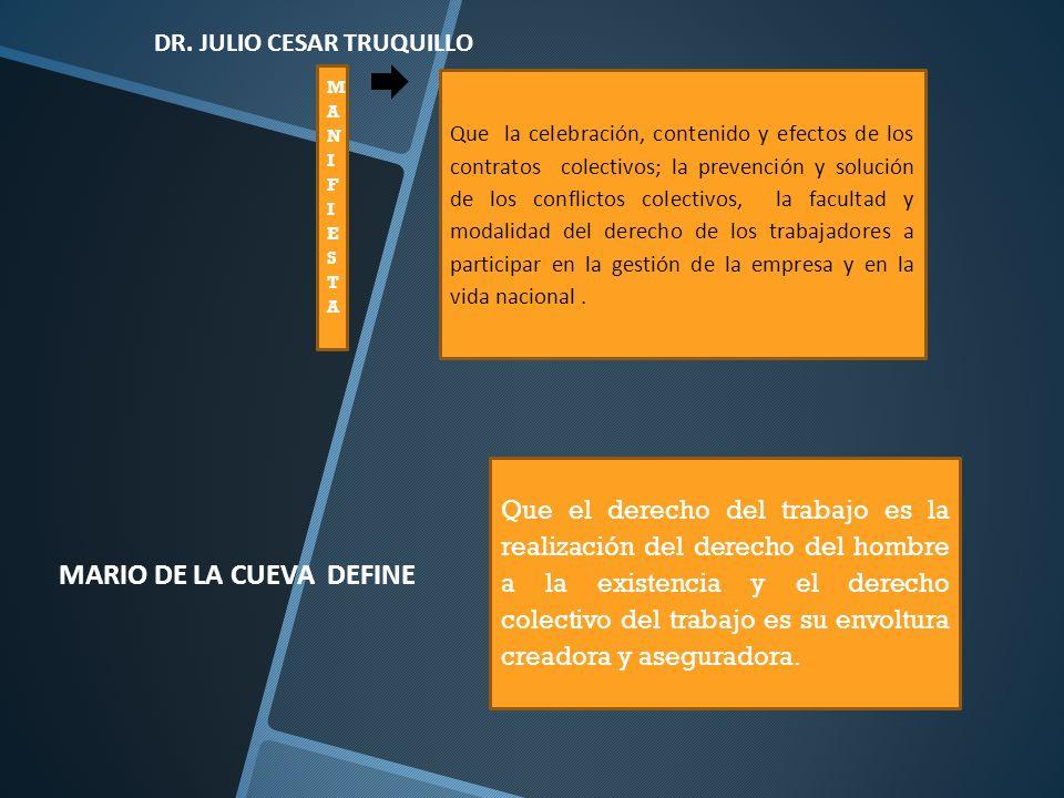 MANIFIESTA MANIFIESTA DR. JULIO CESAR TRUQUILLO Que la celebración, contenido y efectos de los contratos colectivos; la prevención y solución de los c