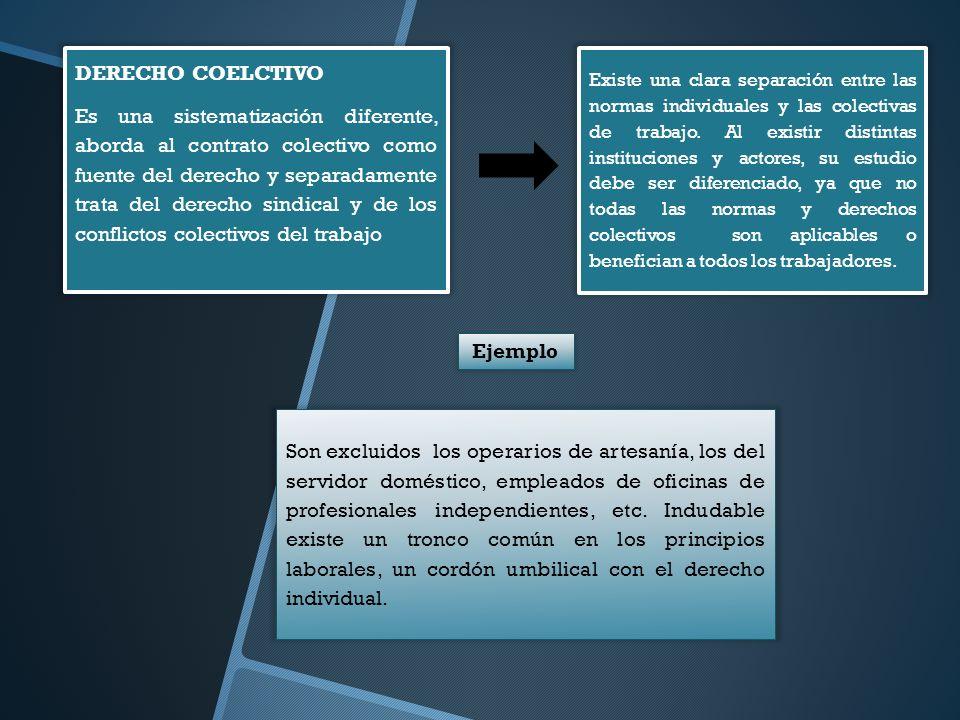 DERECHO COELCTIVO Es una sistematización diferente, aborda al contrato colectivo como fuente del derecho y separadamente trata del derecho sindical y