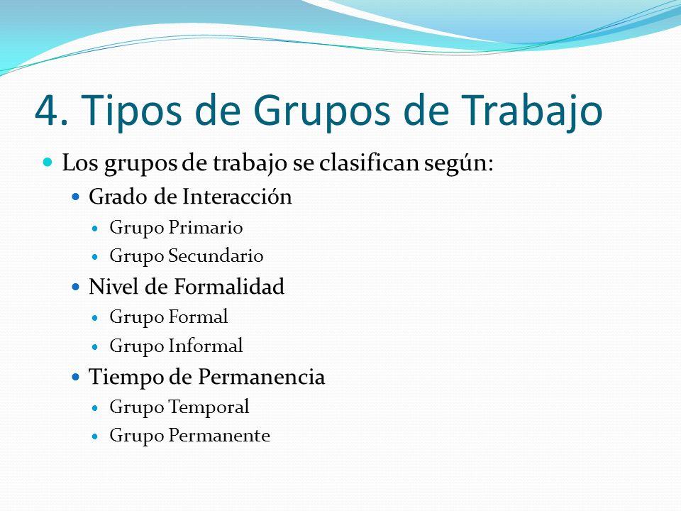 4. Tipos de Grupos de Trabajo Los grupos de trabajo se clasifican según: Grado de Interacción Grupo Primario Grupo Secundario Nivel de Formalidad Grup