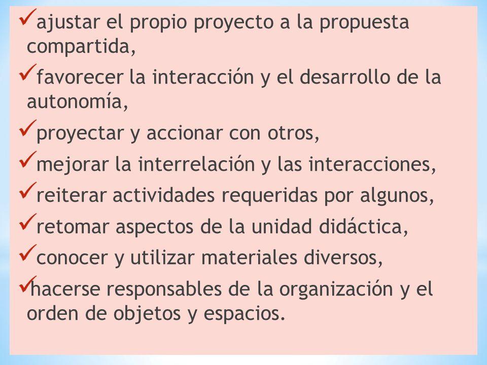 ajustar el propio proyecto a la propuesta compartida, favorecer la interacción y el desarrollo de la autonomía, proyectar y accionar con otros, mejora