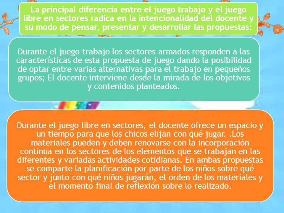 La principal diferencia entre el juego trabajo y el juego libre en sectores radica en la intencionalidad del docente y su modo de pensar, presentar y