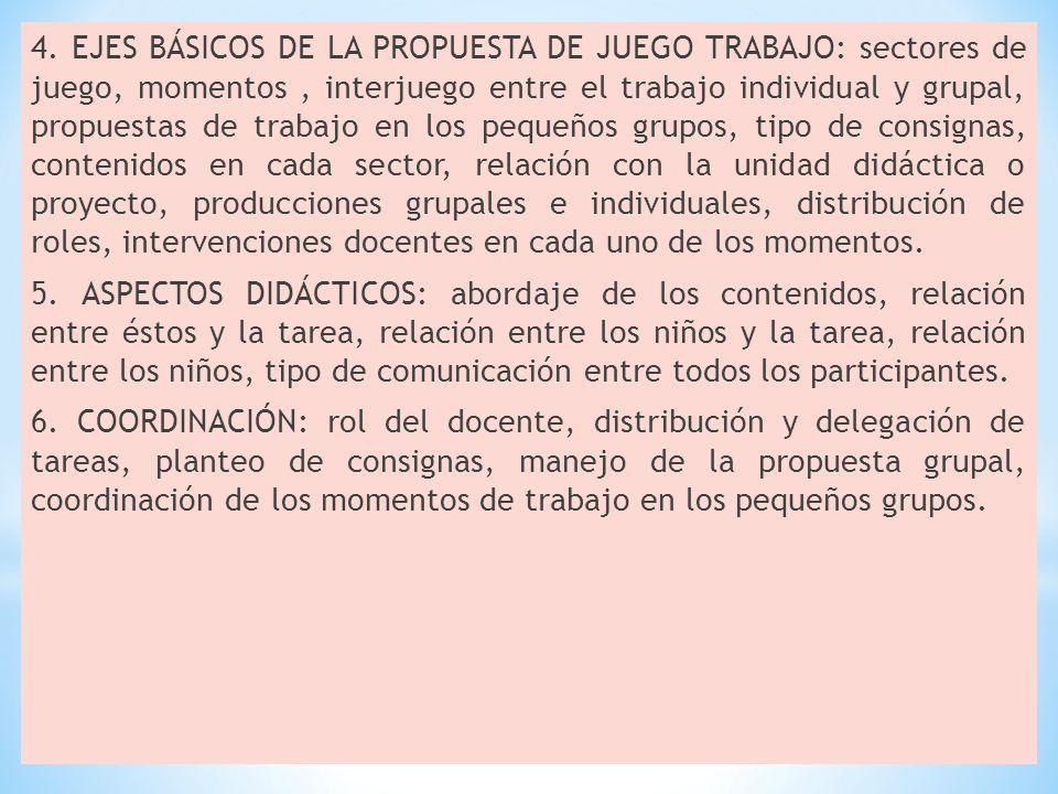 4. EJES BÁSICOS DE LA PROPUESTA DE JUEGO TRABAJO: sectores de juego, momentos, interjuego entre el trabajo individual y grupal, propuestas de trabajo