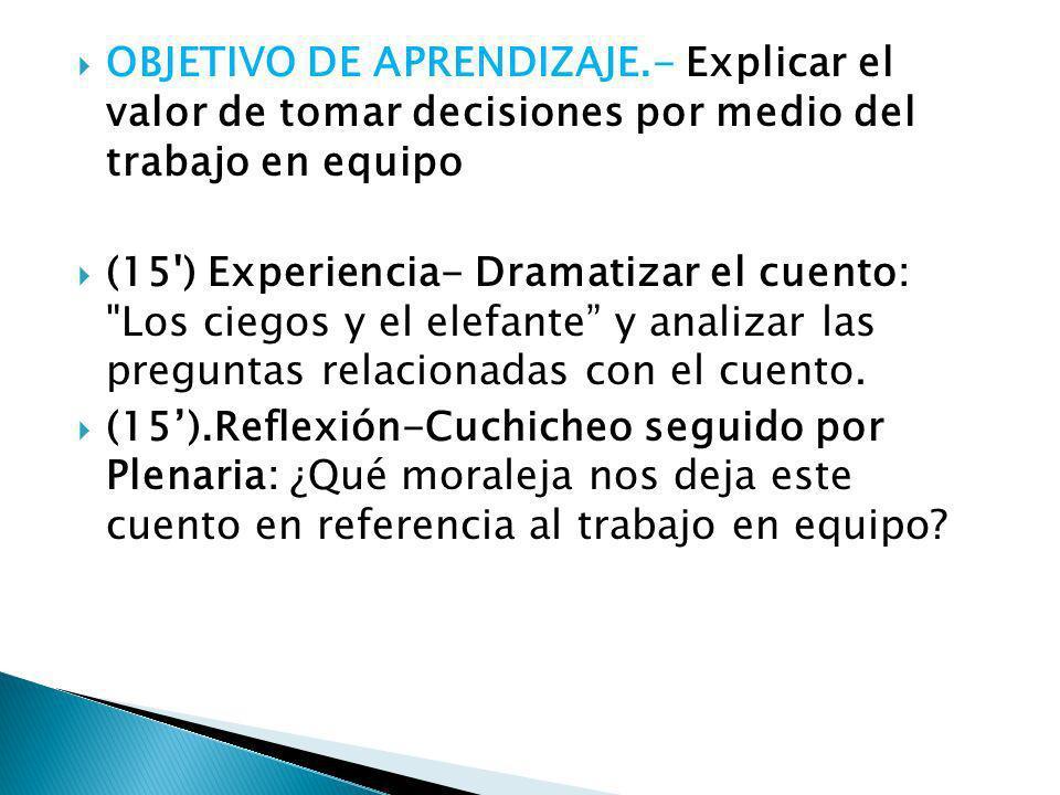 OBJETIVO DE APRENDIZAJE.- Explicar el valor de tomar decisiones por medio del trabajo en equipo (15') Experiencia- Dramatizar el cuento: