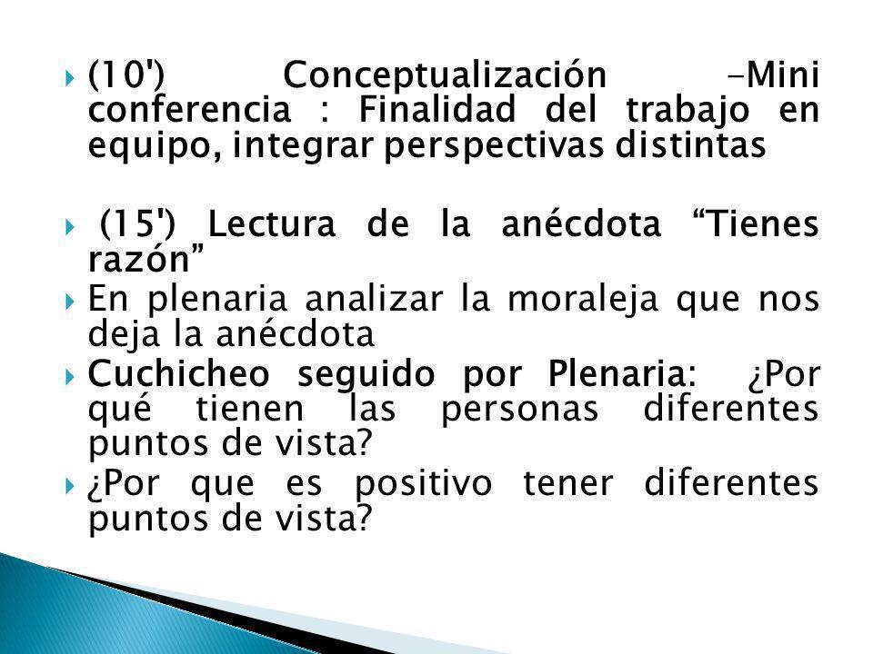 (10') Conceptualización -Mini conferencia : Finalidad del trabajo en equipo, integrar perspectivas distintas (15') Lectura de la anécdota Tienes razón