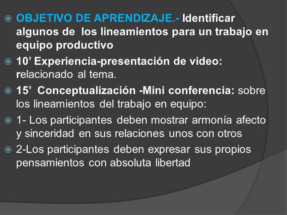 OBJETIVO DE APRENDIZAJE.- Identificar algunos de los lineamientos para un trabajo en equipo productivo 10 Experiencia-presentación de video: relaciona