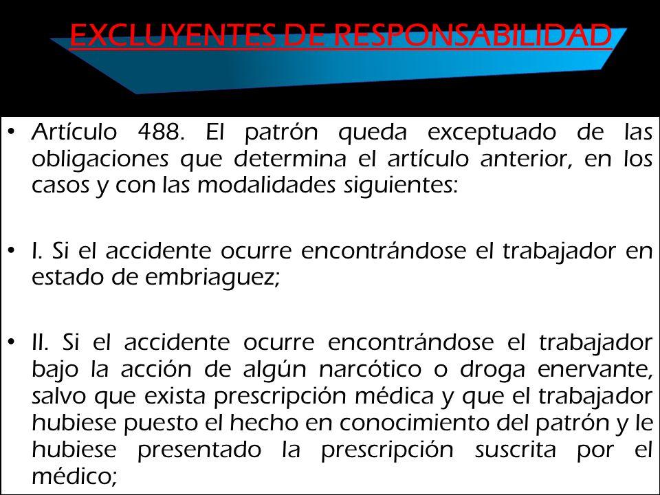 EXCLUYENTES DE RESPONSABILIDAD Artículo 488. El patrón queda exceptuado de las obligaciones que determina el artículo anterior, en los casos y con las