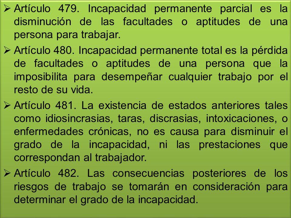 Artículo 479. Incapacidad permanente parcial es la disminución de las facultades o aptitudes de una persona para trabajar. Artículo 480. Incapacidad p