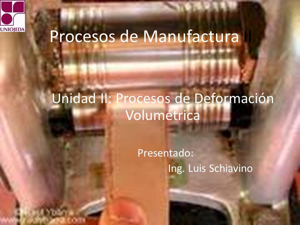 Procesos de Manufactura II Unidad II: Procesos de Deformación Volumétrica Presentado: Ing.