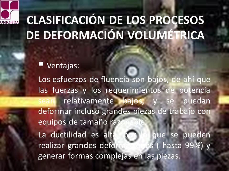 CLASIFICACIÓN DE LOS PROCESOS DE DEFORMACIÓN VOLUMÉTRICA Ventajas: Los esfuerzos de fluencia son bajos, de ahí que las fuerzas y los requerimientos de