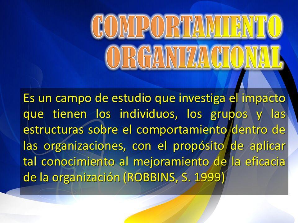Es un campo de estudio que investiga el impacto que tienen los individuos, los grupos y las estructuras sobre el comportamiento dentro de las organiza