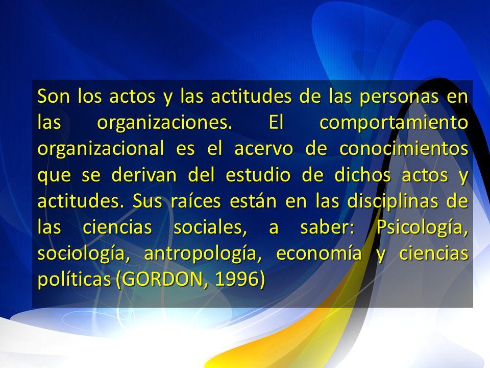 Son los actos y las actitudes de las personas en las organizaciones. El comportamiento organizacional es el acervo de conocimientos que se derivan del
