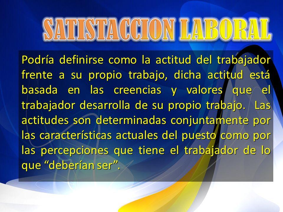 Podría definirse como la actitud del trabajador frente a su propio trabajo, dicha actitud está basada en las creencias y valores que el trabajador des