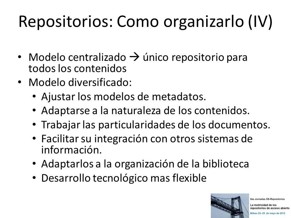Repositorios: Como organizarlo (IV) Modelo centralizado único repositorio para todos los contenidos Modelo diversificado: Ajustar los modelos de metad