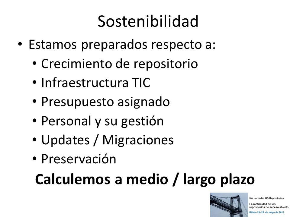 Sostenibilidad Estamos preparados respecto a: Crecimiento de repositorio Infraestructura TIC Presupuesto asignado Personal y su gestión Updates / Migr