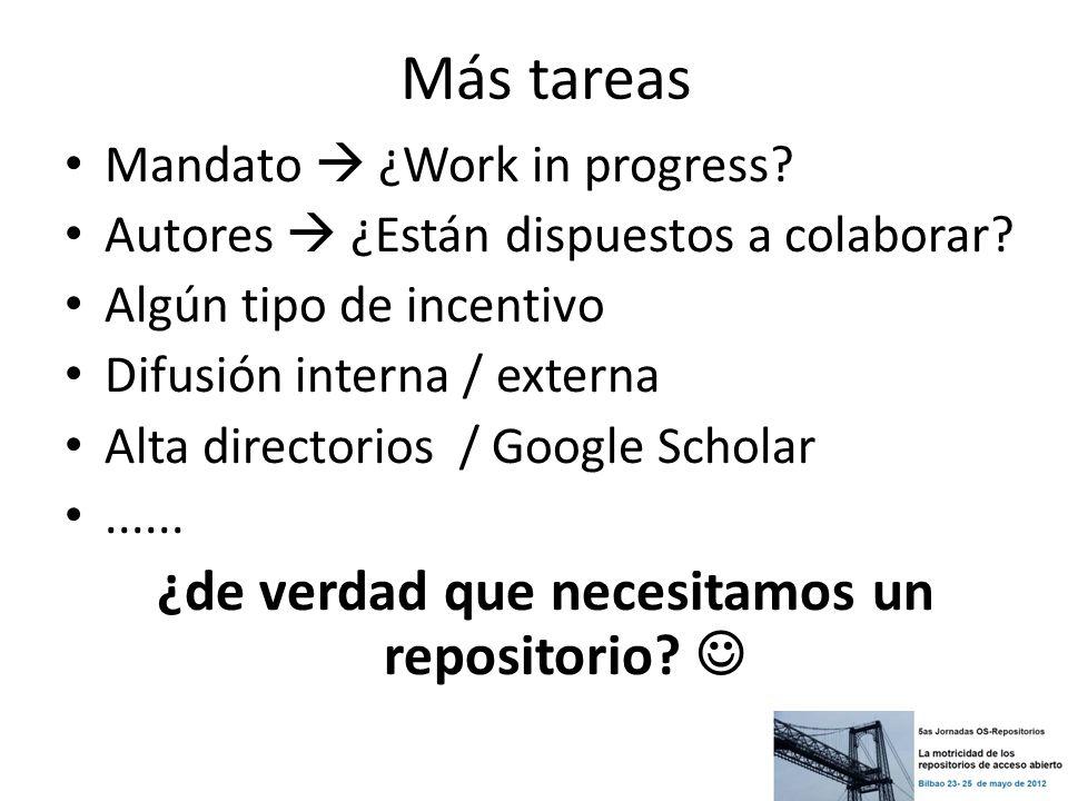 Más tareas Mandato ¿Work in progress? Autores ¿Están dispuestos a colaborar? Algún tipo de incentivo Difusión interna / externa Alta directorios / Goo