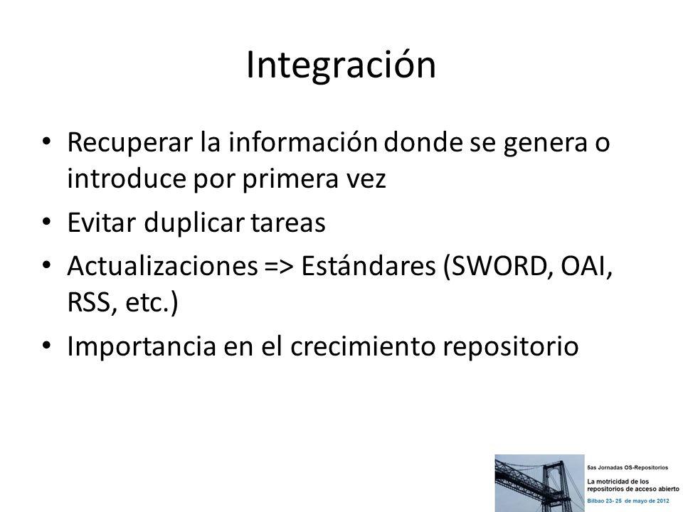 Integración Recuperar la información donde se genera o introduce por primera vez Evitar duplicar tareas Actualizaciones => Estándares (SWORD, OAI, RSS