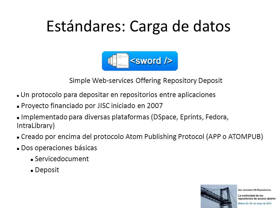 Estándares: Carga de datos Simple Web-services Offering Repository Deposit Un protocolo para depositar en repositorios entre aplicaciones Proyecto fin