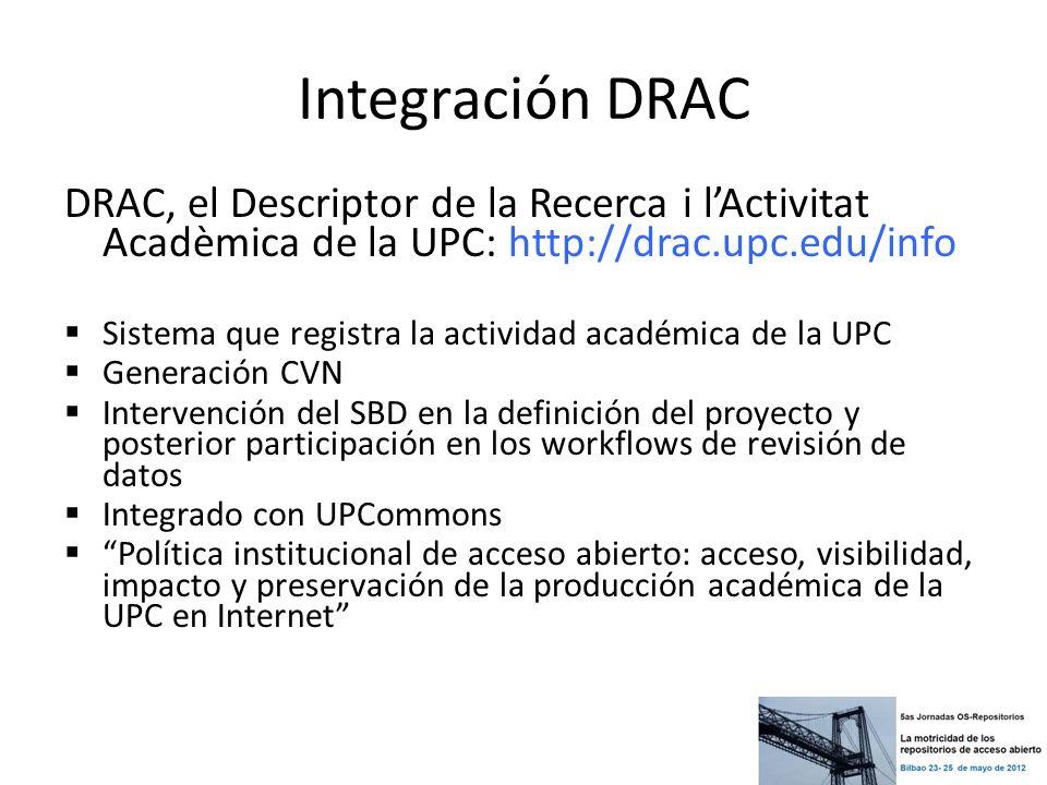 Integración DRAC DRAC, el Descriptor de la Recerca i lActivitat Acadèmica de la UPC: http://drac.upc.edu/info Sistema que registra la actividad académ