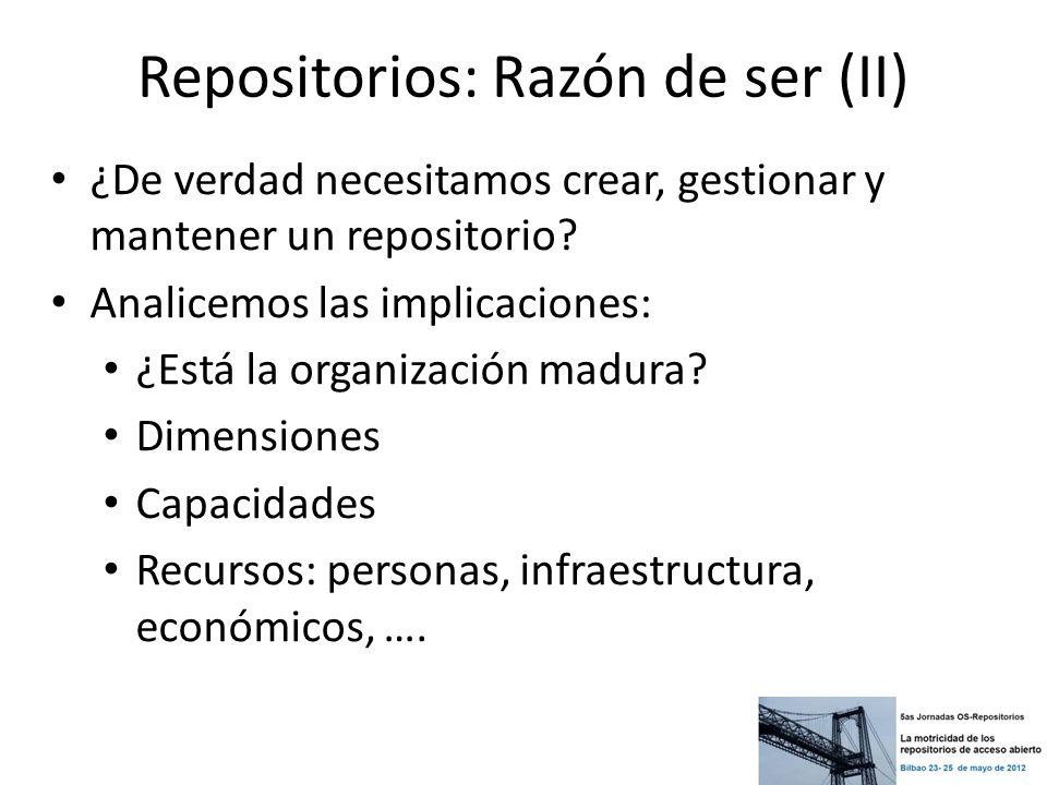 Repositorios: Como organizarlo (II) Metadatos, normalización, … Políticas de preservación migración de formatos Dominio, hosting, backup/copias de seguridad, actualizaciones, migraciones … No estamos solos en esto