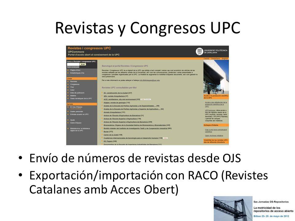Revistas y Congresos UPC Envío de números de revistas desde OJS Exportación/importación con RACO (Revistes Catalanes amb Acces Obert)