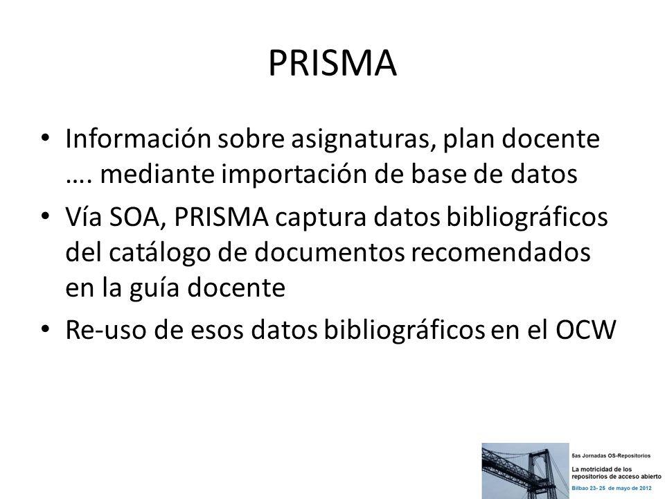 PRISMA Información sobre asignaturas, plan docente …. mediante importación de base de datos Vía SOA, PRISMA captura datos bibliográficos del catálogo