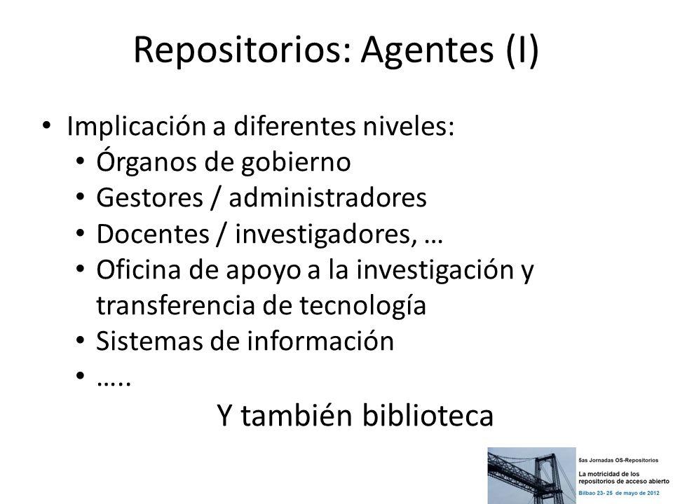 Repositorios: Agentes (I) Implicación a diferentes niveles: Órganos de gobierno Gestores / administradores Docentes / investigadores, … Oficina de apo