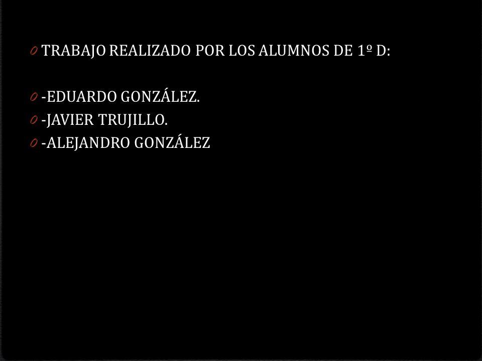 0 TRABAJO REALIZADO POR LOS ALUMNOS DE 1º D: 0 -EDUARDO GONZÁLEZ. 0 -JAVIER TRUJILLO. 0 -ALEJANDRO GONZÁLEZ