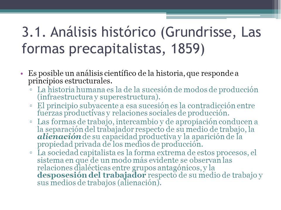 3.1. Análisis histórico (Grundrisse, Las formas precapitalistas, 1859) Es posible un análisis científico de la historia, que responde a principios est