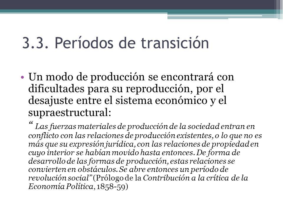 3.3. Períodos de transición Un modo de producción se encontrará con dificultades para su reproducción, por el desajuste entre el sistema económico y e