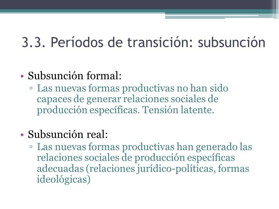 3.3. Períodos de transición: subsunción Subsunción formal: Las nuevas formas productivas no han sido capaces de generar relaciones sociales de producc